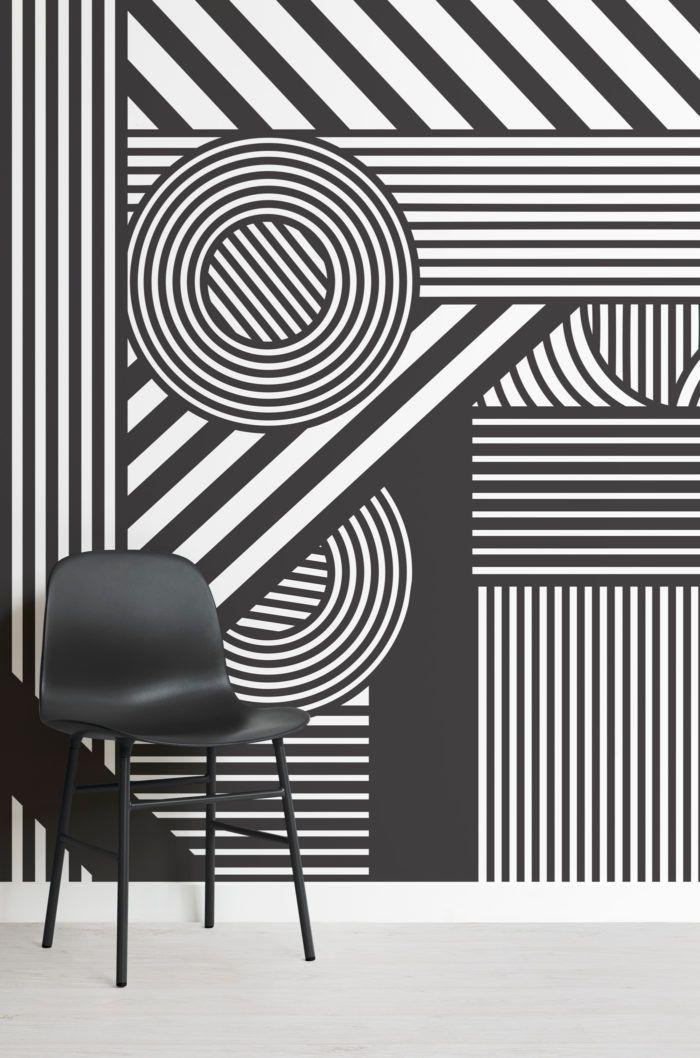 Black White Oriz Geometric Wallpaper Mural Hovia Uk Black And White Wallpaper Wall Paint Designs Camouflage Wallpaper Black geometric wallpaper uk