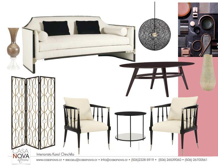Pizarra que busca un monocromático en los volúmenes principales de la sala, y tener  una elegancia exquisita. Piezas clásicas en blanco y negro de impresionantes siluetas, tapicería suave, y hermoso detalle en metal niquelado.  Esta sala se disfruta desde todos los ángulos,  con cada uno de sus elementos.  Las sillas inspiradas en el estilo Windsor, añaden asiento extra que otorga espacio al sofá. #Blanco #Negro #Black&White