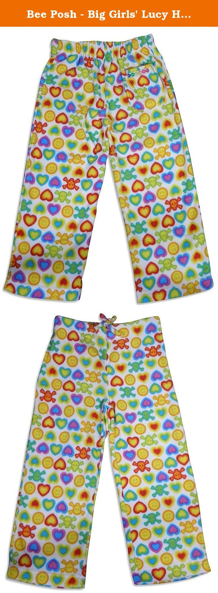 Bee Posh - Big Girls' Lucy Hedgehog Cozy Fleece Pajama Pant, White, Multi 25523-Small. Feel The Comfort In Style with these elastic back waistband pajama pant and a drawstring front, They have a single back pocket, Made of 100% flame resistant polyester in China, Size XS = 4-6 S = 7-8 M = 10-12 L= Kids 14/Adult Small XL = Kids 16/Adult Medium.