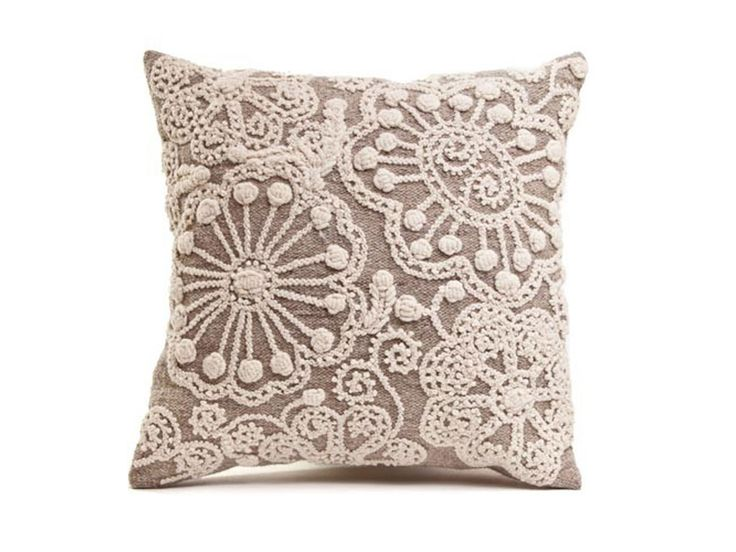 """Fair Trade Peruvian Wool Pillow $110 - Hand-wove on a simple 2-harness loom & hand embroidered on one side. 16"""" x 16"""", 100% sheep's wool, back and front and filled with hypo-allergenic down inserts."""