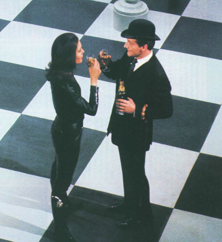 Diana Rigg as Mrs. Emma Peel, and Patrick Macnee as John Steed in 'The Avengers'