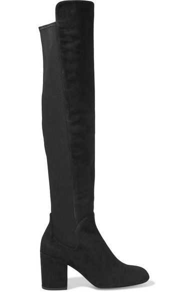 Stuart Weitzman - Halftime Suede And Stretch Over-the-knee Boots - Black - IT37.5