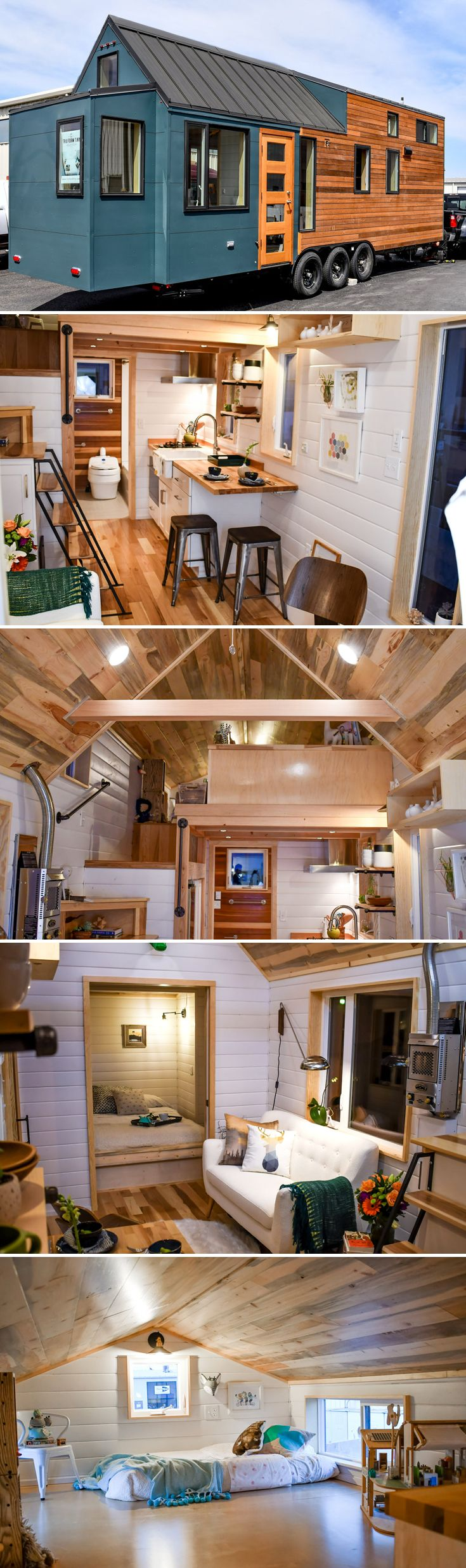 From TruForm Tiny is the 28' Payette Urban, a modern style tiny house with off-grid capabilities and main floor bedroom.