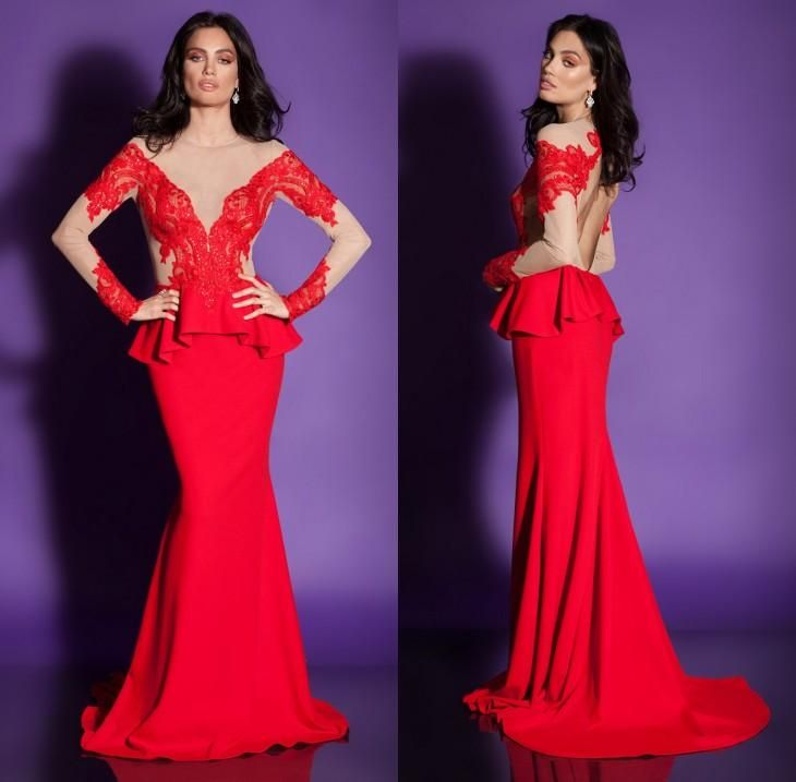 2016 Elegant Red Long Sleeve Evening Dresses Sexy Backless Sheer Neck Floor Length Satin Ruffles Mermaid Formal Occasion Gowns For Women Ladies Occasion Dresses Long Black Evening Dress From Dmronline, $117.99| Dhgate.Com