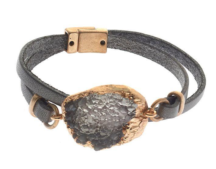 Gave armband met steen in grijs en rosé van Biba