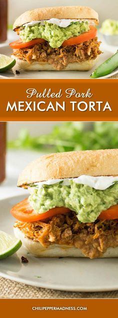 Pulled Pork Mexican Torta Sandwich - Make your own Mexican Torta with pork at home with this recipe, just like your favorite Mexican restaurant, with seasoned pulled pork, refried beans, homemade guacamole and more.