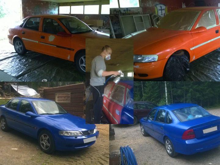 Opel Vectra -01 pääsi Jukan käsittelyssä eroon Huoneistokeskuksen väristä. Jukka teki kaiken ensimmäistä kertaa itse ja paikkana oli  vanha navetta. Maalaaminen oli kuulemma helppoa ja mukavaa! Seuraavalla kerralla Jukan kannattaisi auton suojauksen ohella hoitaa myös oma suojaus loppuun asti:) Jukan mukaan kaverit eivät enää pääse vinoilemaan auton väristä.