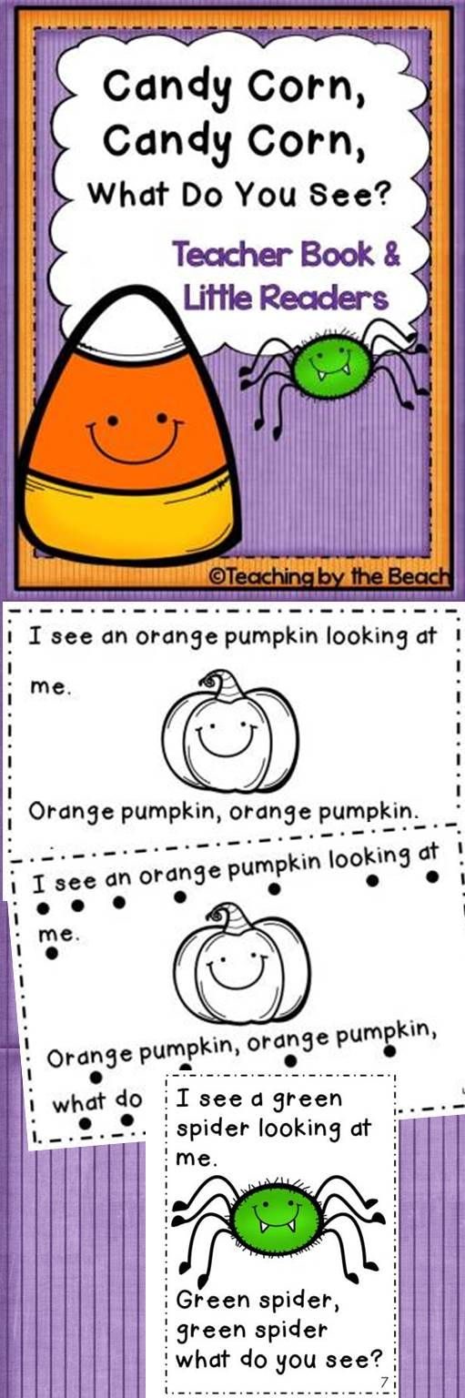 "This PDF file has a class/teacher book (letter sized) in color and little readers of ""Candy Corn, Candy Corn, What Do You See?"". The clipart for this book is just adorable and your students will love it! It has two little black and white readers for students. One has tracking dots and one does not. -Teaching by the Beach"