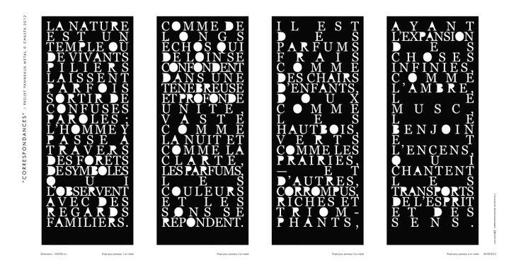 """Première étude pour les panneaux en métal """"Correspondances"""" (Baudelaire). © Chasta / Franck Chastanier 2012."""
