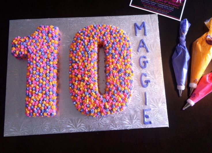 10th Birthday Cake, pink, purple and orange, number cake