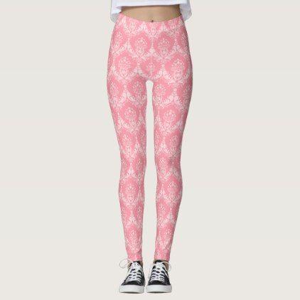 pink damask pattern leggings - patterns pattern special unique design gift idea diy