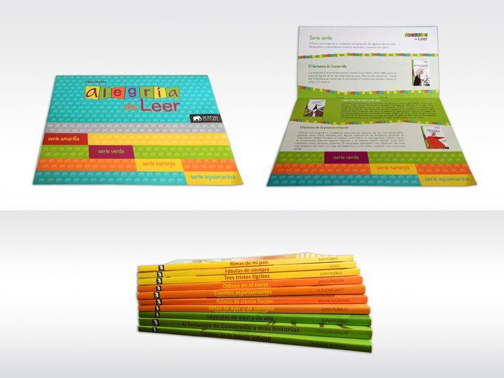 """Imagen y material promocional para el Plan Lector """"Alegría de Leer"""". Diseño, diagramación e ilustración de la colección completa."""