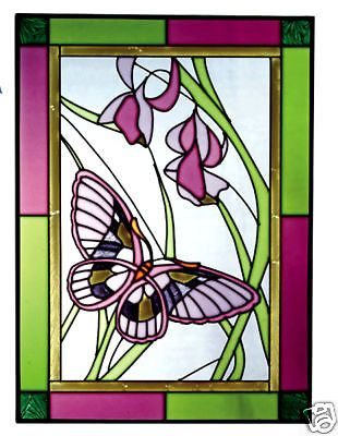 10x14 BUTTERFLY Floral Flowers Stained Art Glass Suncatcher Panel