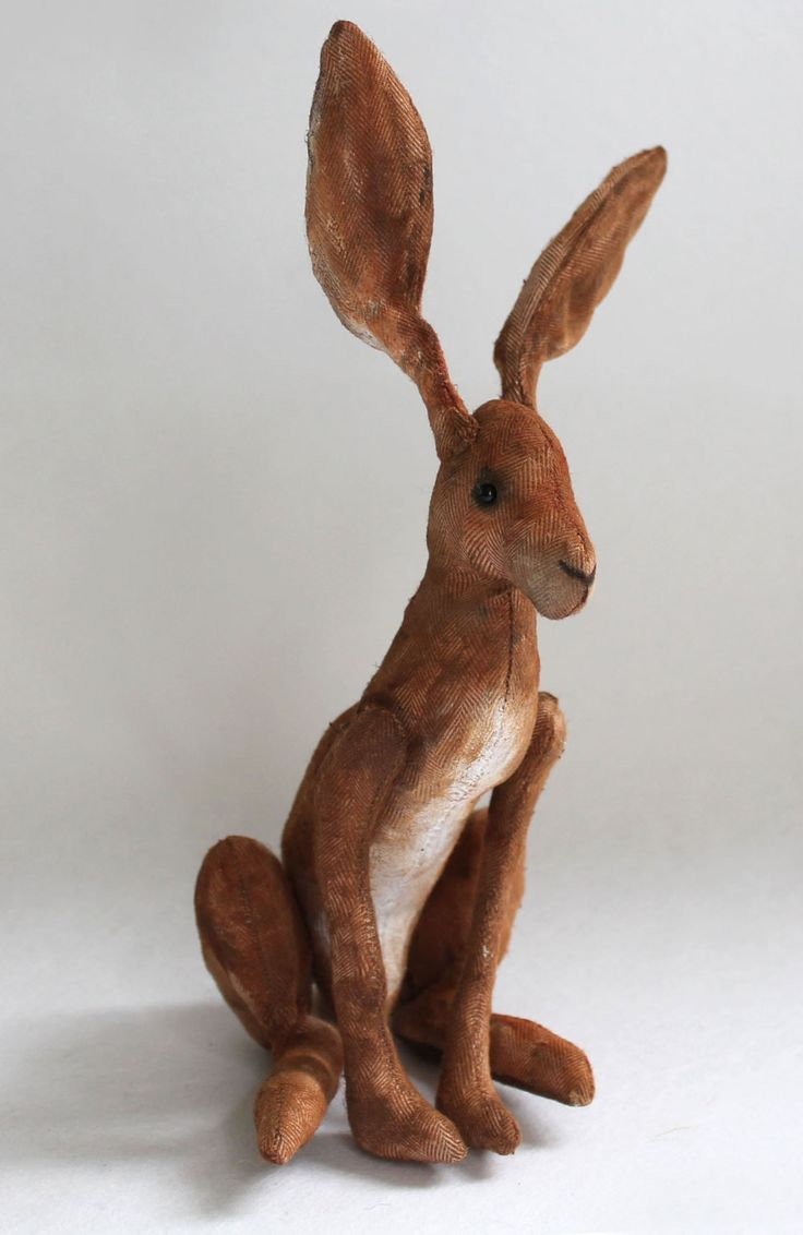 """Make your own sweet hare - Emma Hall has made the PDF sewing   pattern for a 12,5 cm/5"""" hare (not counting ears!). It includes easy to follow   step by step instructions and lots of photos. A free pattern   for a large 25 cm/10"""" hare is included in the price     Purchase and download the PDF pattern here:  Emma Hall Art, Etsy"""