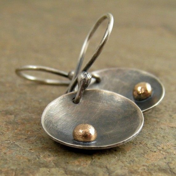 Black silver earrings Oxidized silver and solid 14k by organikx, $109.00