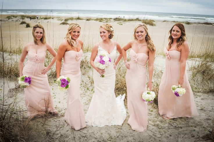 Pale Pink Amsale Bridesmaids Dresses. Beach Wedding