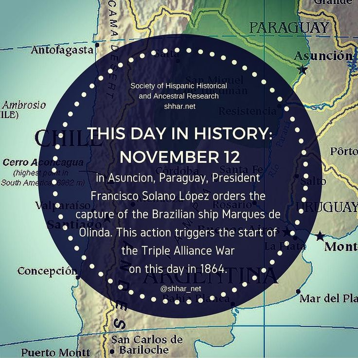 November 12: In Asuncion Paraguay President Francisco Solano López orders the capture of the Brazilian ship Marques de Olinda. This action triggers the start of the Triple Alliance War on this day in 1864.    #thisday #thisdayinhistory #november #history #hispanichistory #hispanicheritage #genealogy #shhar #somosprimos #wearecousins #paraguay #franciscosolano #brasil #brazil #marquesdeolinda #marquêsdeolinda