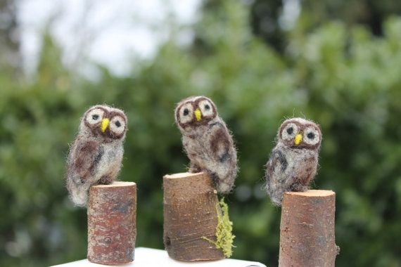 Tiny needle felted wool owl on wood stump by JensFeltedJems, $18.00