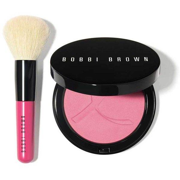 Bobbi Brown Pink Peony Illuminating Bronzing Powder Set ($55) ❤ liked on Polyvore featuring beauty products, makeup, cheek makeup, cheek bronzer, blender brush, blending brush and bobbi brown cosmetics