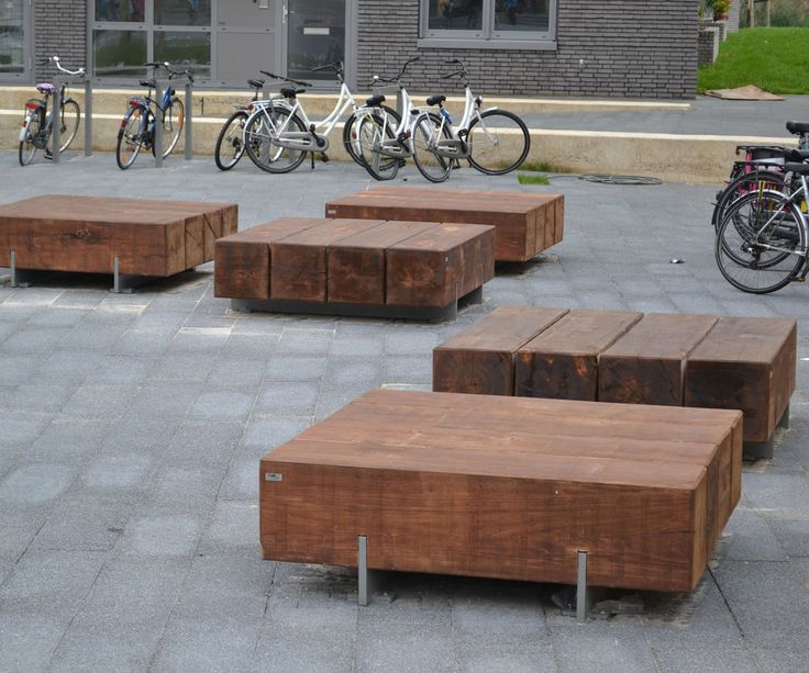 simple wood and metal benches | Pure-poef