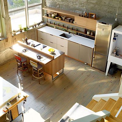 : Studios Kitchens, Kitchens Spaces, Artists Studios, Art Studios, Open Spaces, Loft Kitchens, Loft Apartment, Sunsets Magazine, Open Kitchens