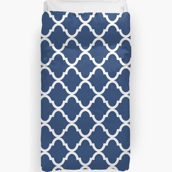 blue white geometric pattern bedding