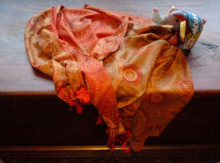 Scarf, Wrap, Shawl, Ladies Luxurious Vibrant Soft Pashmina, 100% Cashmere, Double-sided, Great Gift, Orange / Yellow,#25 by WanderingThreadz on Etsy