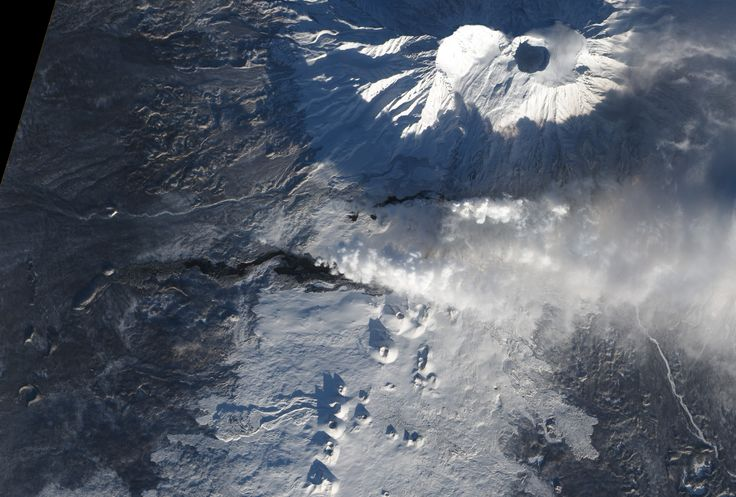 The Tolbachik volcano on the Kamchatka Peninsula along the Bearing Sea; Steaming