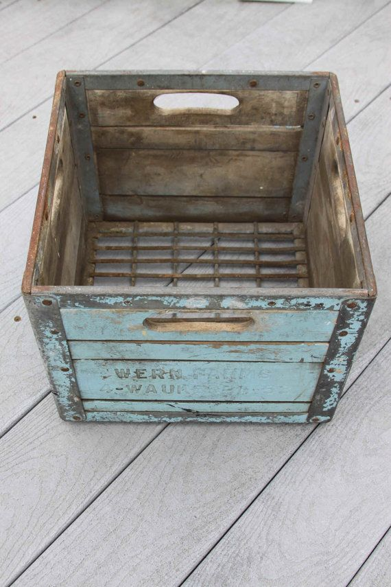 Vintage Blue Farm Crate Box Wood and Metal