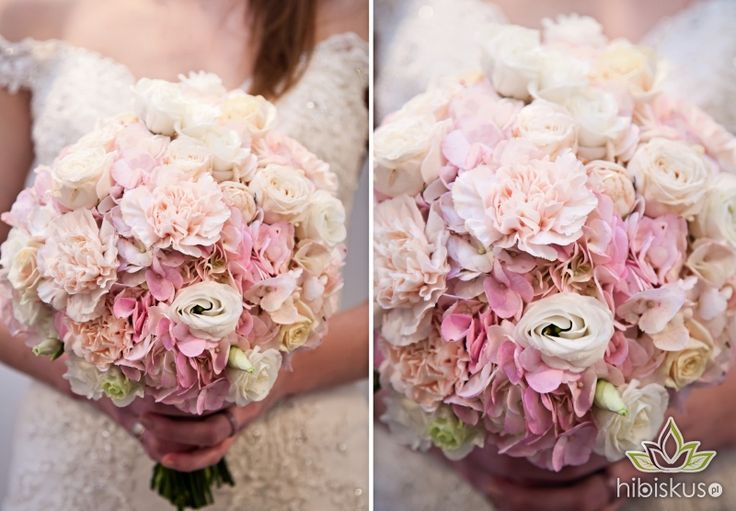 Sweet and fluffy bouquet made of pink hydragea, roses, lisianthus and carnation flowers #weddingflower #pinkwedding #bukietslubny #hortensja #hibiskus.pl #flowers #kwiaty #wedding #flower #kwiatki #bride