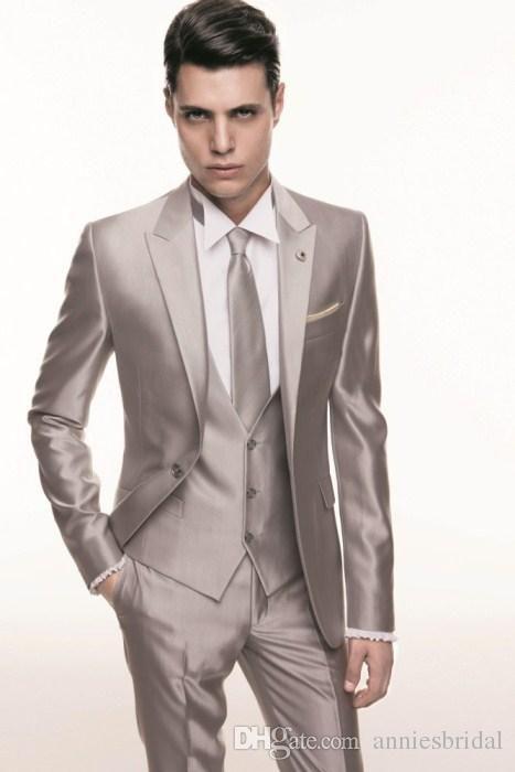 champagne mens suits peaked Lapel Wedding suits for men tuxedos for men one button groomsmen suits three piece Suit Jacket Pants vest tie
