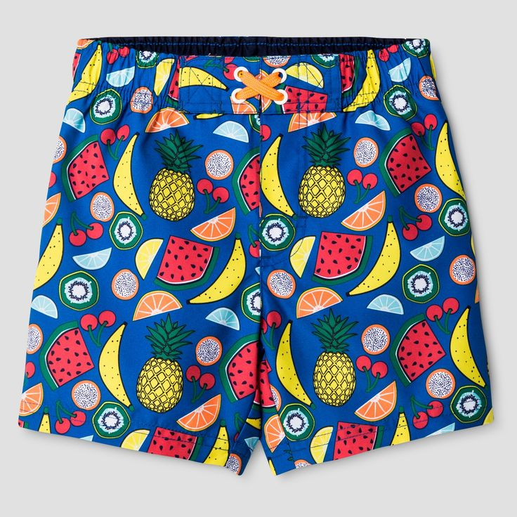 • Recycled polyester for durability and softness<br>• Mesh liner for comfort <br>• Elastic waist on trunk that stays put<br>• UPF 50+ rated fabric for ultimate sun protection<br>• Machine wash cold and line dry to preserve quality<br><br>Get him ready for the water with the Toddler Boys' Fruit Print Swim Trunk Cat & Jack™ - Blue. This boys' swimsuit hits below the knee and has no pocket...