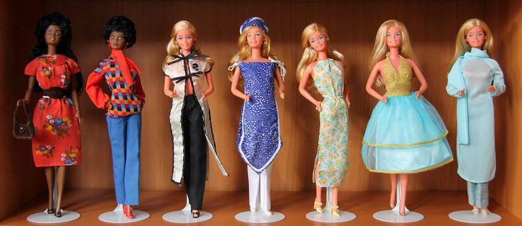 L-R  Beauty Secrets Christie wears Best Buy Fashions #9573 (1976)  Black Barbie wears Best Buy Fashions #9579 (1976)  Roller Skating Barbie wears Best Buy Fashions #2563 (1978)  Beautiful Bride Barbie wears Best Buy Fashions #2225 (1978)  Roller Skating Barbie wears Best Buy Fashions #2772 (1979)  Roller Skating Barbie wears Best Buy Fashions #9582 (1976)  Roller Skating Barbie wears Best Buy Fashions #9969 (1977)