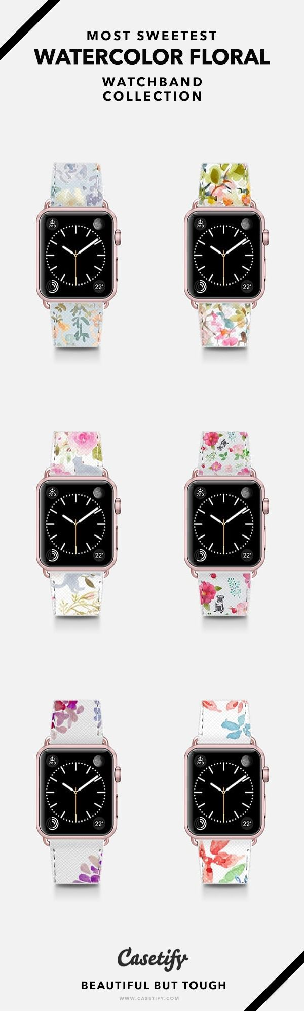 Most Sweetest Watercolor Floral Watchband Collection - Apple Watch Bands Silver/Rose Gold/Matte Black - Shop them here ☝️☝️☝️ BEAUTIFUL BUT TOUGH ✨- Watercolor, Art, Craft, Drawing, Flowers, Floral, Sweet, Treat Yourself