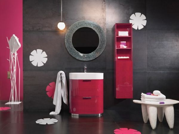 women bathroom ideas with glossy hot pink furniture