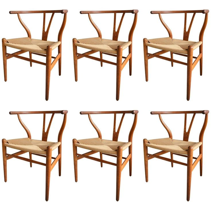 Set Of Six Hans Wegner Wishbone Dining Chairs Condition Excellent Dimensions InD 75 CmD Seat Height In