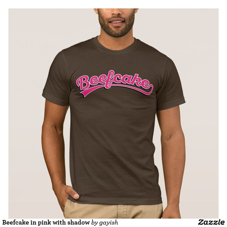 Beefcake in pink with shadow.  #beefcake #slang #muscular #manly #fitness #fit #male #tshirt #pink #gayish #muscles