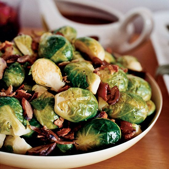 Brussels Sprouts with Chestnuts and Bacon | Bacon and Brussels sprouts make a particularly tasty pair, especially when matched with earthy chestnuts.