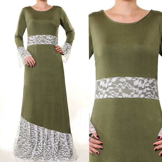 Jersey Lace Modest Islamic Abaya Dress Long Sleeves by MissMode21