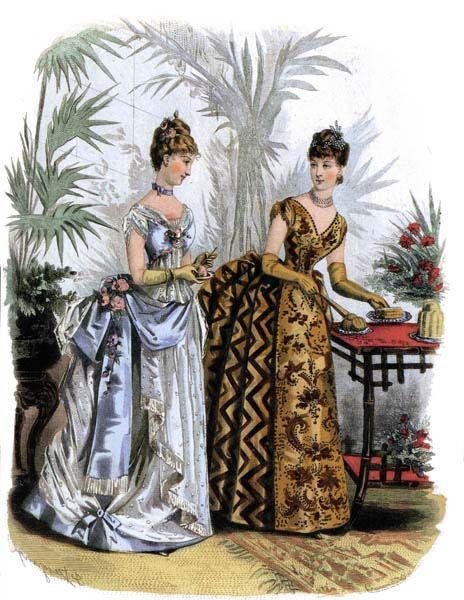 shewhoworshipscarlin:  Dinner dress fashion plate, 1886,...