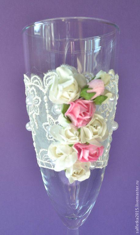 Купить Свадебные бокалы с цветами - белый, свадебные бокалы, свадебные аксессуары, свадебные украшения, свадьба