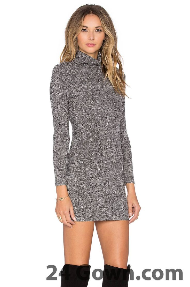 Long Sleeve Turtleneck Dress (black)
