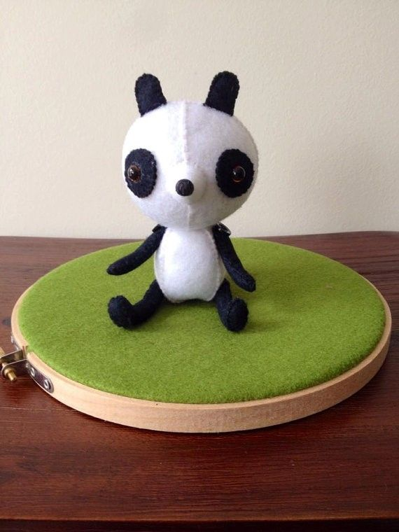 Black and White Panda Bear: Collectable Woolen Felt Doll, Handmade Soft Sculpture, Display Plushie(Toys, Kids Toys, Gifts for Babies, Pet Collectables, Keepsake)Great gifts $1 of every sale goes to WWF.  #gifts #panda #kungfupanda #zoo #collectable #felt #australianmade #animals #giftsforanimallovers #giftsforkids #christening #birthday #animals #WWF #giftsforher #giftsforhim #giftsforteenagers #petloves #pets #commemorate #