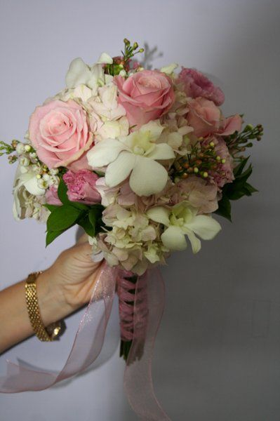 Pink White Bouquet Fall Spring Summer Winter Wedding Flowers Photos & Pictures - WeddingWire.com