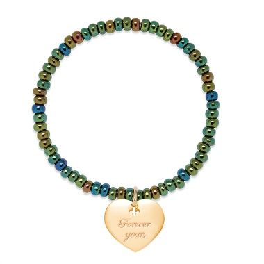 Green opal pearl bracelet with gold-plated Heart
