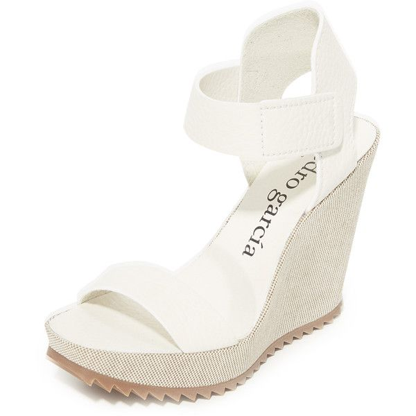 Pedro Garcia Vivien Wedge Sandals ($520) ❤ liked on Polyvore featuring shoes, sandals, wedge shoes, wedge heel sandals, white wedge sandals, pedro garcia shoes and white wedge shoes