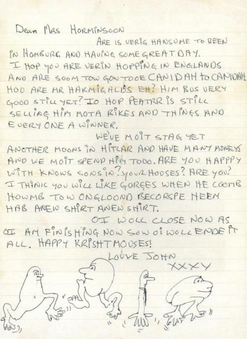 a letter from john lennon to george harrisons mom