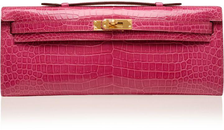 Madison Avenue Couture Hermes Fuchsia Nilo Crocodile Kelly Pochette
