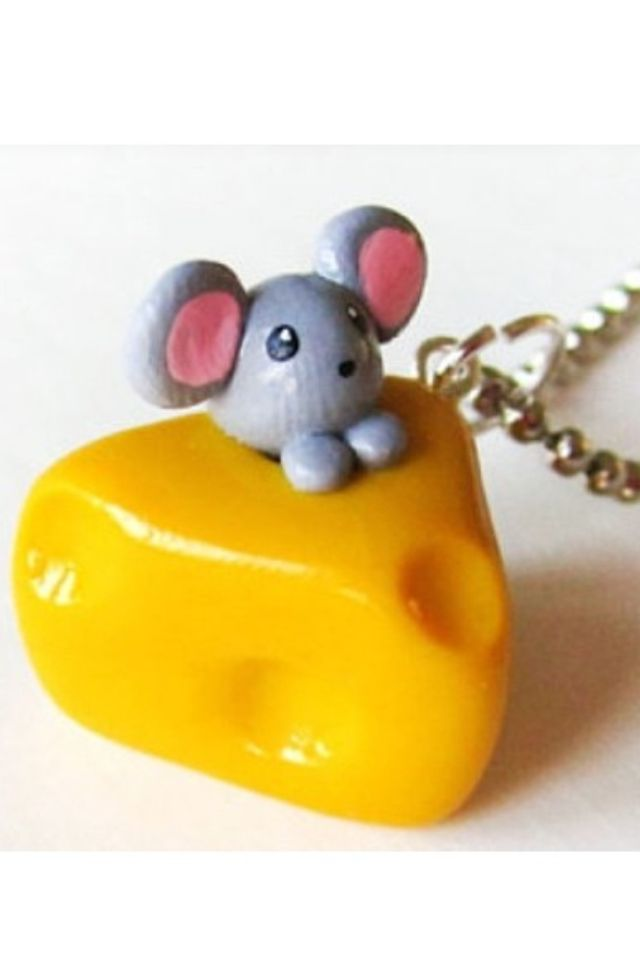 Mouse in cheese polymer clay charm