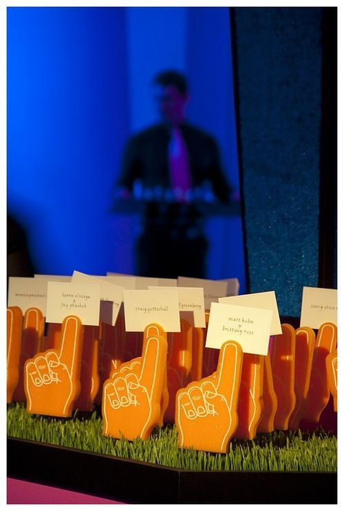 Mini foam fingers to hold place cards for a bar mitzvah #barmitzvah #party #religious sports weddings, sport themed wedding ideas #wedding